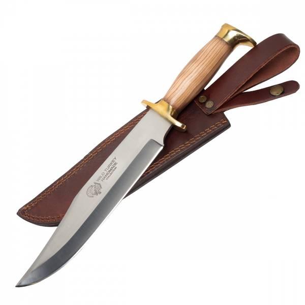 Bilde av WT - Håndlaget Wood Bowie Kniv med Lærslire