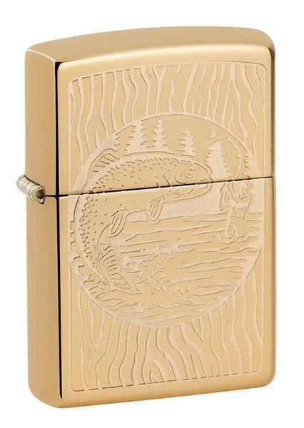 Bilde av Zippo - Fisker Motiv Høypolert - Lighter